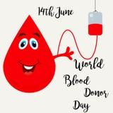 Cartel brillante con el descenso rojo para el día del donante de sangre del mundo Fotos de archivo libres de regalías