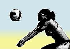 Cartel básico 1 del voleibol de la playa Fotos de archivo libres de regalías