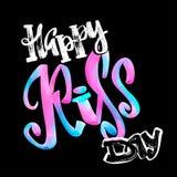 Cartel caligráfico de las letras de la acuarela del día feliz del beso libre illustration