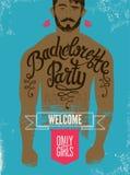 Cartel caligráfico para el partido de la soltera con un tatuaje en el cuerpo de un hombre Ilustración del vector Fotografía de archivo