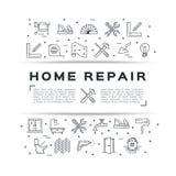 Cartel casero de la construcción del aviador de la reparación La casa remodela la línea fina iconos del arte Vector Imagen de archivo libre de regalías