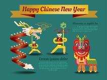 Cartel chino del Año Nuevo y tarjeta de felicitación