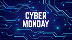 Cartel cibernético de la venta de lunes, bunner, invitación con pulsos eléctricos fotos de archivo