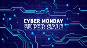 Cartel cibernético de la venta de lunes, bunner, invitación con pulsos eléctricos imagen de archivo libre de regalías