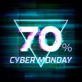 Cartel cibernético o bandera del descuento de la venta de lunes con interferencia Imagen de archivo libre de regalías
