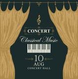 Cartel clásico de la música con llaves y cortinas del piano ilustración del vector