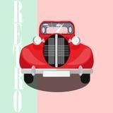 Cartel clásico rojo del coche Imagen de archivo