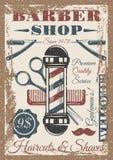 Cartel coloreado vintage de la peluquería de caballeros Foto de archivo