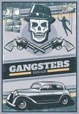Cartel coloreado vintage del gángster stock de ilustración