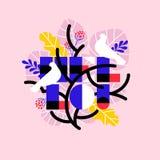 Cartel colorido de hojas de palma tropicales con los pájaros blancos y hola letras libre illustration