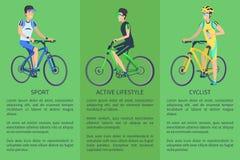 Cartel colorido de la forma de vida del ciclista activo del deporte ilustración del vector