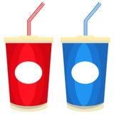 Cartel colorido del icono de los alimentos de preparación rápida del jugo del batido de leche de la cola de la soda libre illustration