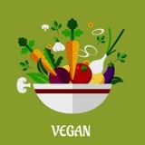 Cartel colorido del vegano con los iconos vegetales planos Imagen de archivo