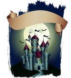 Cartel con el castillo oscuro stock de ilustración