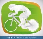 Cartel con el corredor de ciclo de la pista en la velocidad, ejemplo del vector Foto de archivo libre de regalías