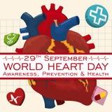Cartel con el diseño del cardiograma para celebrar el día del corazón del mundo, ejemplo del vector Fotos de archivo libres de regalías