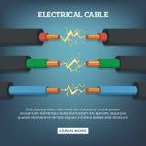 Cartel con el ejemplo de la historieta de los alambres del cable eléctrico con diverso amperaje Concepto del fondo del vector libre illustration