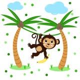 Cartel con el mono y la palma lindos - vector, ejemplo, EPS stock de ilustración