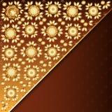 Cartel con el ornamento floral de oro Foto de archivo libre de regalías