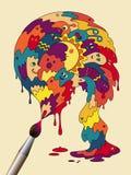 Cartel con la brocha colorida del monstruo Foto de archivo libre de regalías