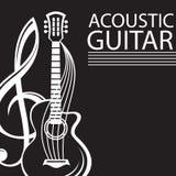 Cartel con la guitarra Imagen de archivo