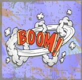Cartel con la historieta del auge Imágenes de archivo libres de regalías