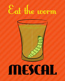 Cartel con la imagen del tequila con el gusano en fondo anaranjado stock de ilustración