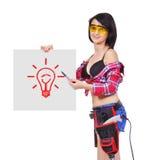 Cartel con la lámpara del dibujo Imagen de archivo libre de regalías