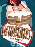 Cartel con la mujer en Oktoberfest stock de ilustración