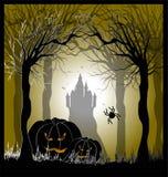 Cartel con las calabazas para Halloween Foto de archivo
