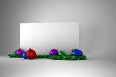 Cartel con las decoraciones coloridas de la Navidad Imágenes de archivo libres de regalías
