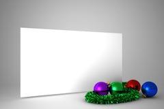 Cartel con las decoraciones coloridas de la Navidad Fotografía de archivo