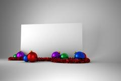 Cartel con las decoraciones coloridas de la Navidad Fotografía de archivo libre de regalías