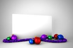 Cartel con las decoraciones coloridas de la Navidad Imagen de archivo libre de regalías