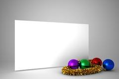 Cartel con las decoraciones coloridas de la Navidad Imagenes de archivo
