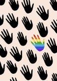 Cartel con las manos y el hablar de igualdad de género La bandera del espectro del orgullo, homosexualidad, el embl libre illustration