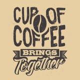 Cartel con lema a mano del café Ilustración creativa del vector Foto de archivo libre de regalías