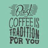 Cartel con lema a mano del café Ilustración creativa del vector Fotografía de archivo libre de regalías