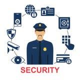 Cartel con los iconos de la seguridad stock de ilustración