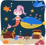 Cartel con una sirena y una ballena - ejemplo del vector, EPS stock de ilustración