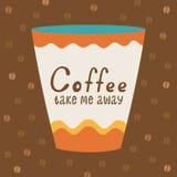 Cartel con una taza de café y de tipografía Fotos de archivo libres de regalías
