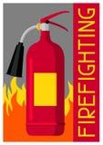 Cartel contraincendios con el extintor y el fuego Equipo de seguridad contra incendios ilustración del vector