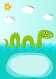 Cartel creativo con el monstruo de mar Fotografía de archivo