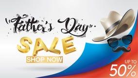 Cartel creativo de padre de la promoción feliz del día, de la venta o diseño de la plantilla de la bandera que hace compras con e