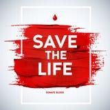 Cartel creativo del donante de la información de la motivación del día del donante de sangre Bl Imagen de archivo libre de regalías