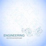 Cartel, cubierta, bandera, fondo de los dibujos de ingeniería de piezas Hoja del cuaderno Vector Fotos de archivo libres de regalías