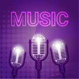 Cartel de Art Style Modern Musical Concert del estallido de Live Music Microphone Banner Colorful Imagenes de archivo
