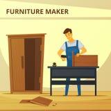 Cartel de Assembling Furniture Flat del carpintero Fotografía de archivo libre de regalías
