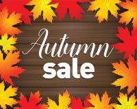 Cartel de Autumn Sale El rojo del otoño, amarillo y la naranja se va en fondo de madera oscuro Plantilla de la bandera de la vent Fotografía de archivo