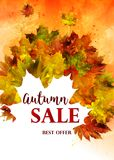 Cartel de Autumn Sale Vector stock de ilustración